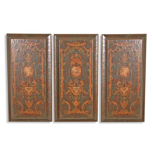 Set Of 3 Baroque Italian Hand Painted Wooden Wall Panels