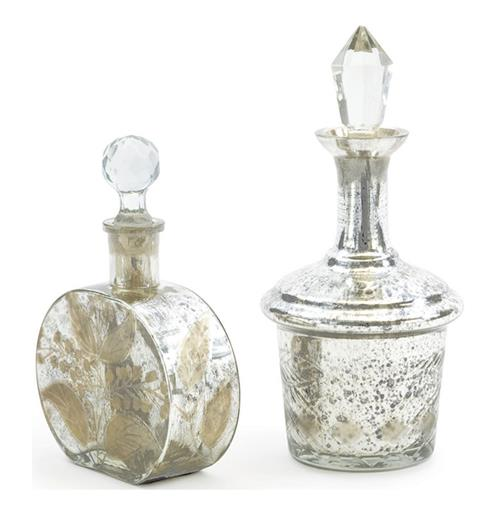 Set of two Antique Mercury Glass Perfume Bottles
