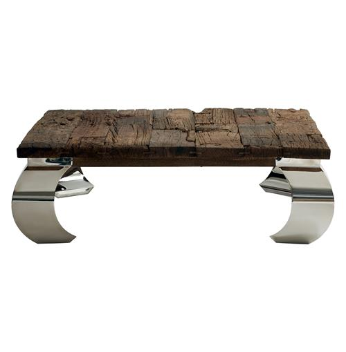 Sid Modern  Rustic Lodge Wood Silver Base Square Coffee Table