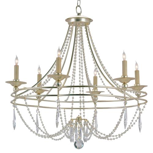 Silver Faceted Crystal Swag 6 Light Elegant Chandelier | Kathy Kuo Home