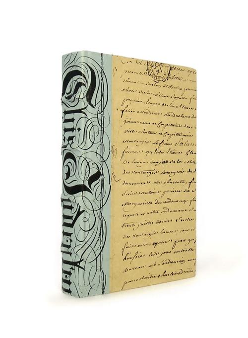 Single Vintage Hand Made Sky Blue Bold Baroque Script Book