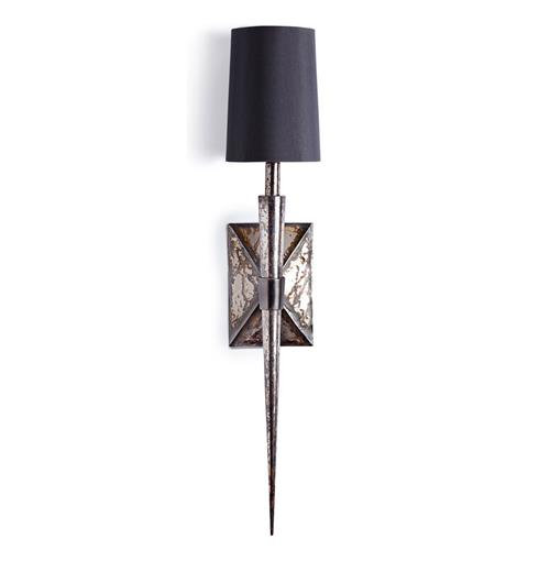 Smithson Antiqued Mirror Modern Silver Spike Sconce | Kathy Kuo Home