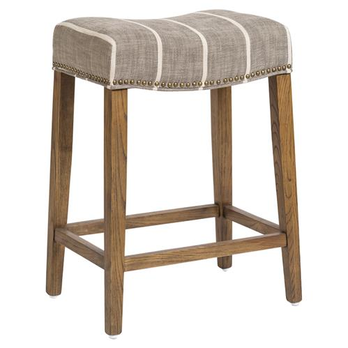 Solen Modern White Striped Grey Upholstered Wood Saddle