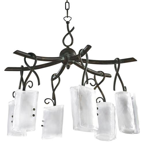 Somerset Wrought Iron Organic Sculpted 6 Light Chandelier