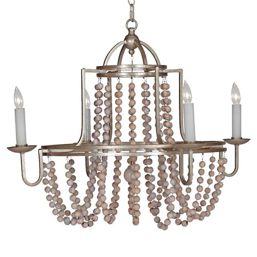 Sonya French Country Wood Beaded Swag Silver Leaf Chandelier