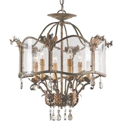 Spanish Revival Antique Gold Silver Ceiling Mount Chandelier