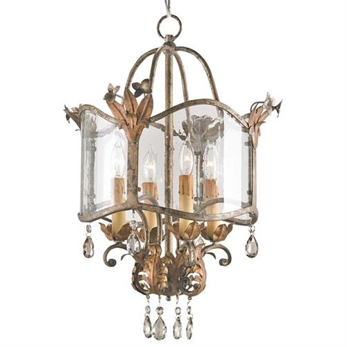 Spanish Revival Antique Gold Silver Lantern Pendant Lamp | Kathy Kuo Home