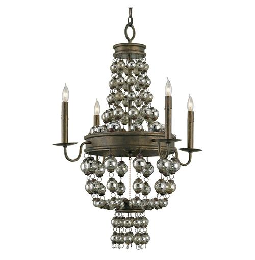 Spellbound Art Deco Draped Mercury Glass Balls 4 Light Chandelier