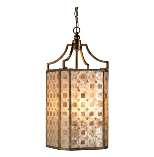St. Helens Modern Square Capiz Shell Panel 4 Light Lantern Pendant | Kathy Kuo Home