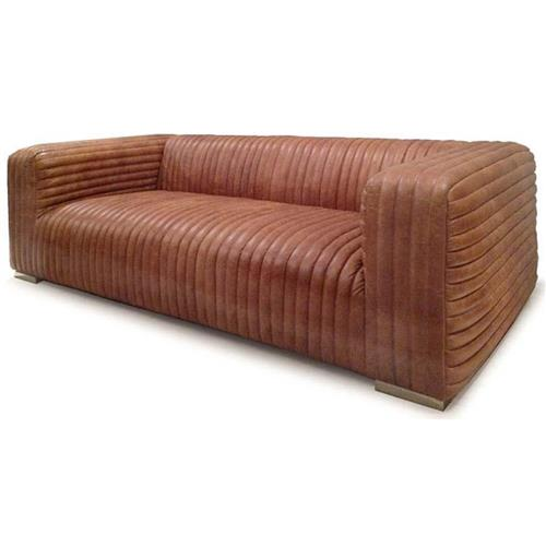 Stanley Leather Sofa Bangalore: Stanley Rustic Masculine Cognac Brown Leather Piped Sofa