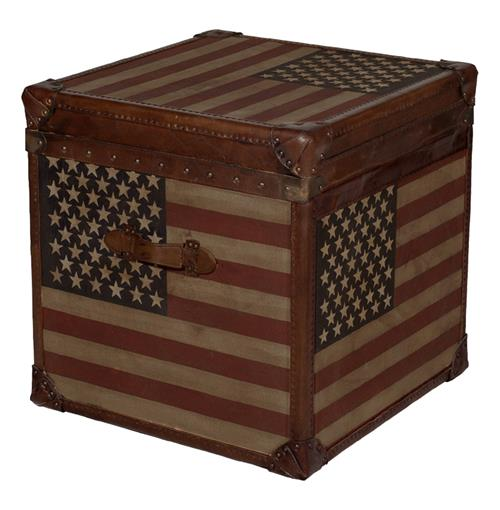 Stars and Stripes Modern Industrial Leather Trunk Side End Table