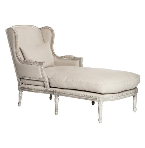 Stefania French Country Wing Back White Grey Chaise Lounge
