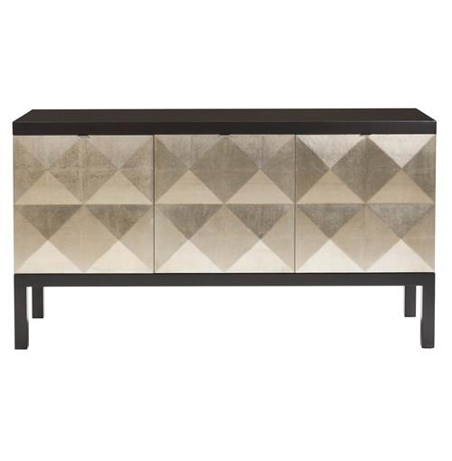 Sterling Hollywood Regency Faceted Gold Leaf Front Sideboard