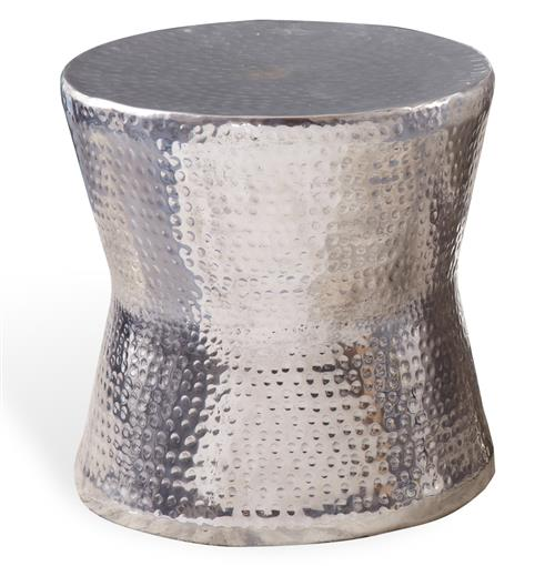 Surabaya Global Bazaar Hammered Nickel Round Side End Table