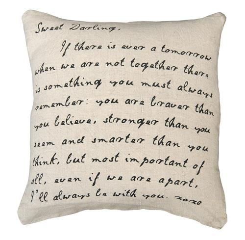 """Sweet Darling"" Love Letter Script Linen Down Throw Pillow"