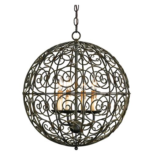 swirl scrolled wrought iron ball 4 light pendant lamp. Black Bedroom Furniture Sets. Home Design Ideas