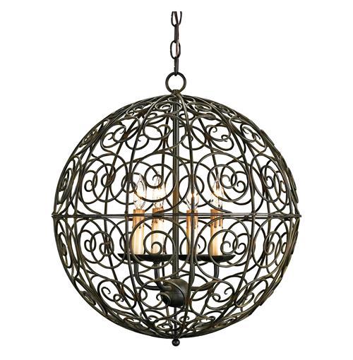 swirl scrolled wrought iron ball 4 light pendant lamp. Black Bedroom Furniture Sets. Home Design Ideas