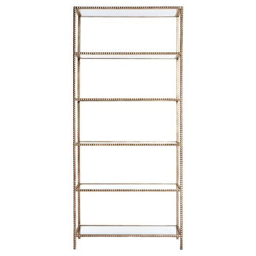 Tall Modern Gold Stud -Edged Etagere Display Bookcase