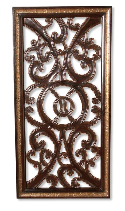 Tangiers Spanish Rustic Wood Scroll Wall Panel Art | Kathy Kuo Home
