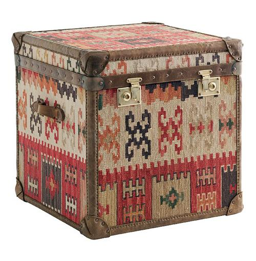 Taos Global Bazaar Kilim Tapestry Cube Chest Side End Table