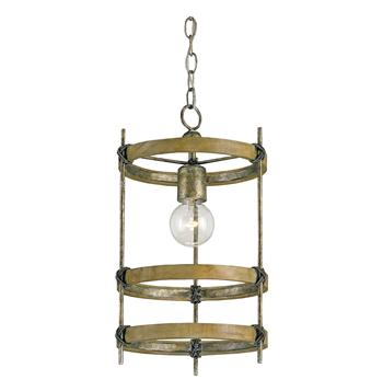 Three Metal Ring Single Bulb Rustic Bronze Modern Pendant