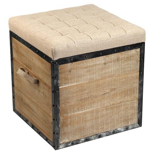 Tirley French Country Teak Wood Metal Trim Burlap Storage