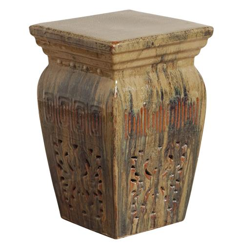 Toffee Southwestern Red Beige Brown Pierced Ceramic Garden Stool Seat | Kathy Kuo Home