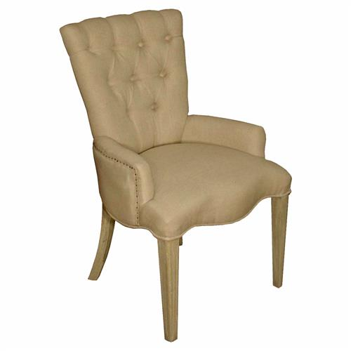 Toulouse french country pine linen tufted arm chair for Chaise longue toulouse
