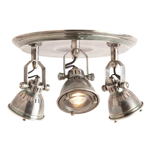 trace industrial modern 3 light vintage silver flush mount fixture