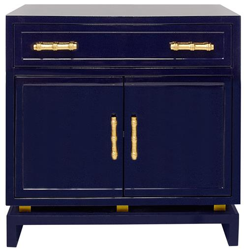 Tracey Hollywood Regency Navy Blue Lacquer Nightstand