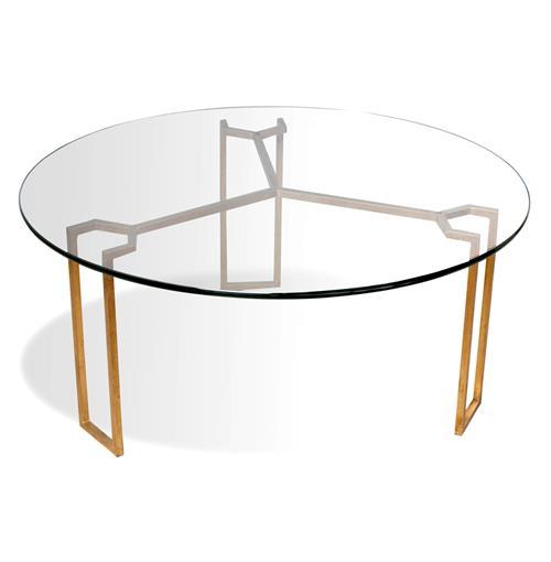 Triad Modern Geometric Gold Leaf Round Coffee Table
