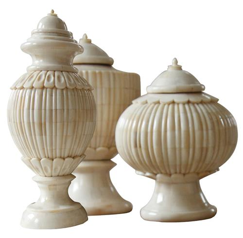 Trio Haggis Bone Covered Global Bazaar Ivory Lidded Urns