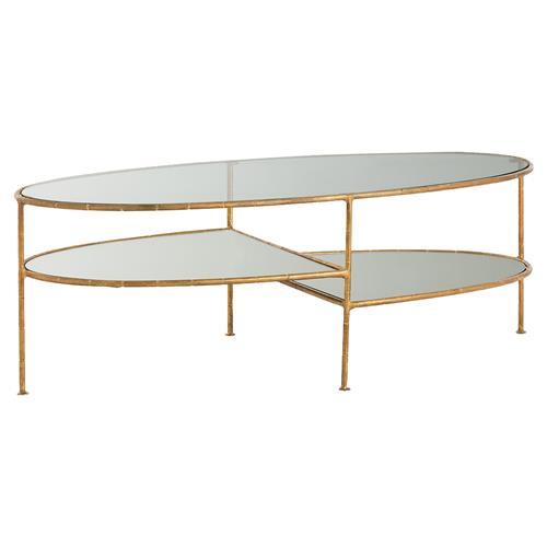 Madox Modern Classic Antique Gold Leaf Glass Coffee Table: Tyren Regency Modern Gold Leaf Tiered Glass Coffee Table