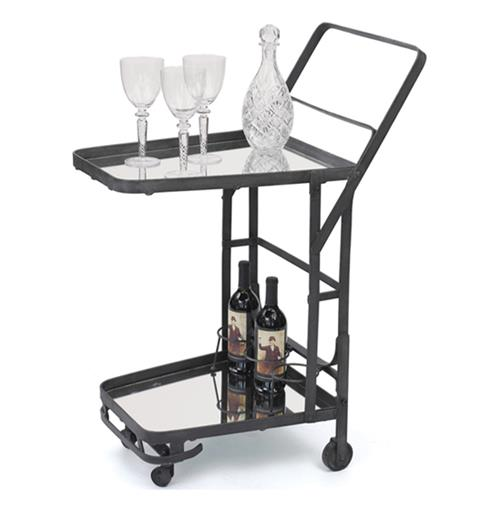 Uptown Hollywood Regency Industrial Rolling Iron Mirror Bar Cart
