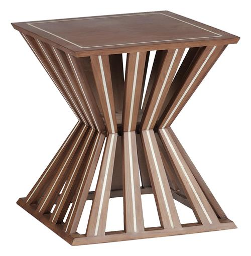 Valerie Hourglass Deco Modern Horn Wood Side End Table