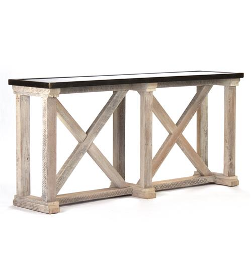 Vedel Industrial Loft Zinc Wood Rectangle Coffee Table: Valerya Zinc Top Chunky Rustic Solid Wood Console Table