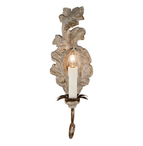 Verdure French Country Carved Wood Leaf Wall Sconce - Pair