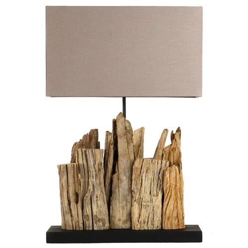 Vertico Riverine Root Modern Rustic Burlap Shade Table Lamp | Kathy Kuo Home