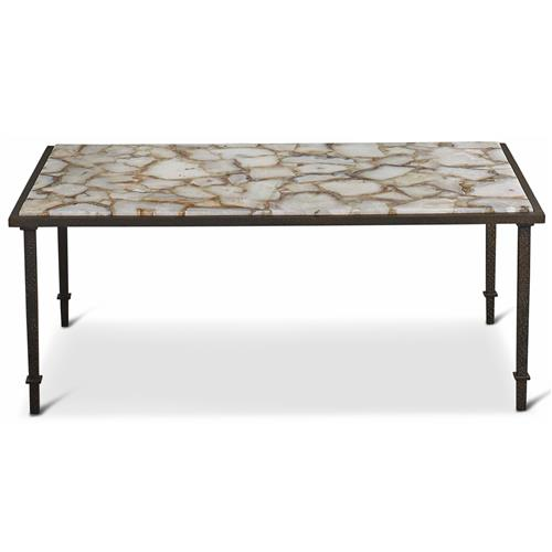 Rollins Industrial Loft Bronze Iron Coffee Table Kathy Kuo: Vesuvio Global Bazaar Agate Stone Iron Coffee Table