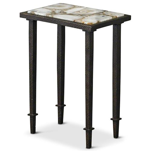 Rollins Industrial Loft Bronze Iron Coffee Table Kathy Kuo: Vesuvio Global Bazaar Agate Stone Iron Rectangle Side End