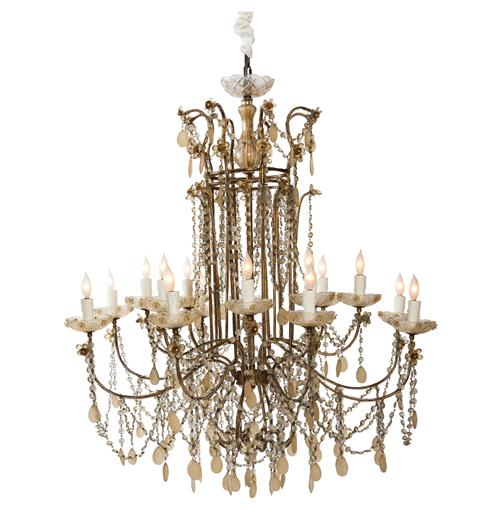 Villlandry Hollywood Regency Champagne Ornate 16 Light Grand Parlor Chandelier