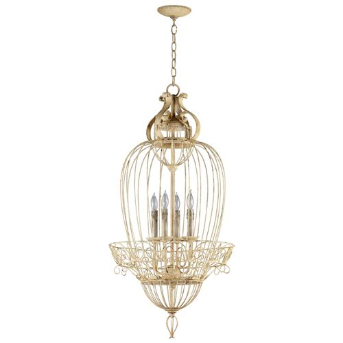 Vintage Foyer Antique White Bird Cage 4 Light Chandelier