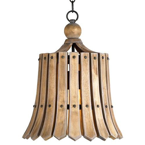 Vintage Style Frutier Wood Slat Bell Pendant Light | Kathy Kuo Home