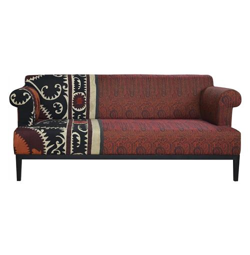 Vintage Suzani Red Paisley Global Bazaar Sofa Kathy Kuo Home
