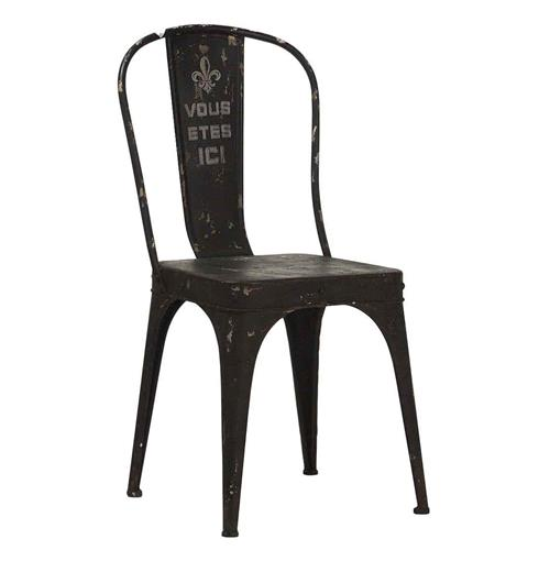 """Vous Etes Ici"" French Iron Rustic Black Cafe Chair"