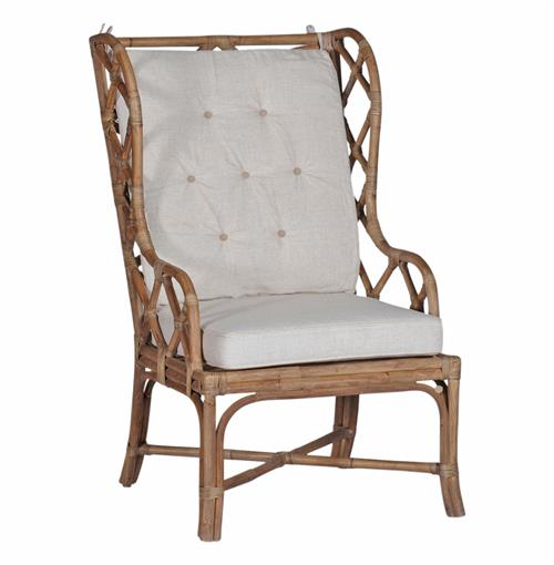 Watson Coastal Large Rattan Wing Back Dining Arm Occasional Chair