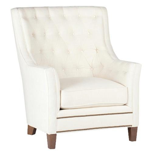 Welch Modern Classic Tufted Ivory Linen Arm Chair