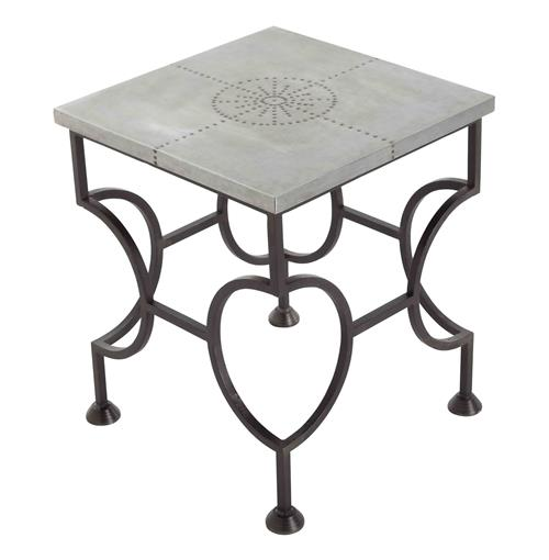 Westerly Industrial Zinc Wrapped Iron End Side Table | Kathy Kuo Home