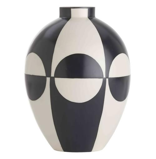 Whitley Black and White Color Block Modernist Porcelain Vase | Kathy Kuo Home