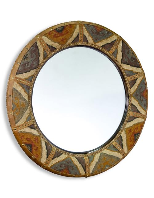 Windham Lodge Rustic Kilim Covered Large Round Mirror | Kathy Kuo Home